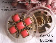 Pink Enamel buttons, Pink and Gold buttons. Free worldwide shipping (2) (3) (4) (5)